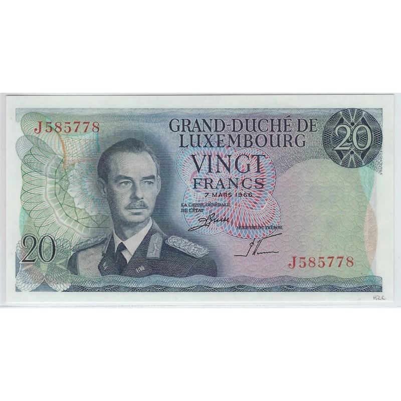 LUXEMBOURG 20 FRANCS 7 MARS 1966 SERIE J NEUF