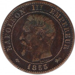 FRANCE 2 CENTIMES NAPOLEON III 1855 D ANCRE grand D grand Lion TB+