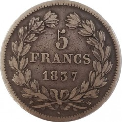 FRANCE 5 FRANCS LOUIS-PHILIPPE I 1837 W (Lille) TB+