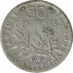 FRANCE 50 CENTIMES ROTY 1903 TB+