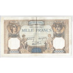 FRANCE 1000 FRANCS CERES ET MERCURE 24/03/1938 TTB N.3170