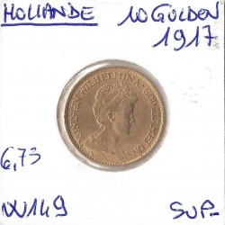 HOLLANDE 10 GULDEN OR 1917  SUP-