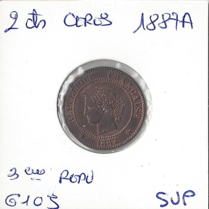 2 CENTIMES CERES 1887 A SUP