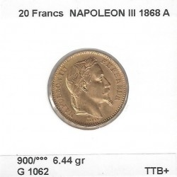 20 FRANCS OR NAPOLEON III TETE LAUREE 1868 A en etat TTB+ OR GOLD ORO