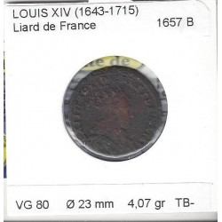 LOUIS XIV ( 1643-1715 ) LIARD DE FRANCE 1657 B (ROUEN) B+