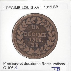 1 DECIME LOUIS XVIII 1815 point BB TB