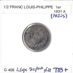 FRANCE 1/2 FRANC LOUIS PHILIPPE 1831 A TTB+
