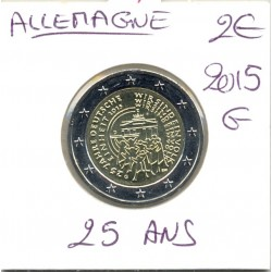 ALLEMAGNE 2015 G 2 EURO COMMEMORATIVE REUNIFICATION 25 ANS  SUP