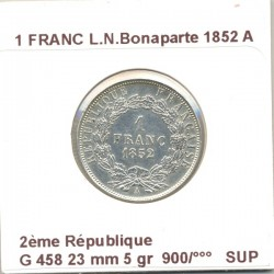 FRANCE 1 FRANC L.N.BONAPARTE 1852 A SUP