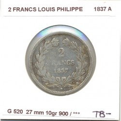 FRANCE 2 FRANCS LOUIS PHILIPPE 1837 A TB-