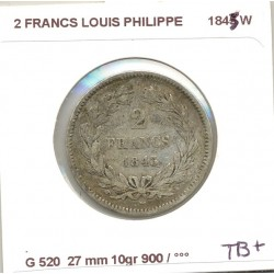 FRANCE 2 FRANCS LOUIS PHILIPPE 1843 W TB+