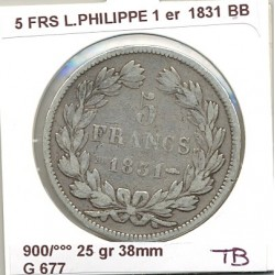 FRANCE 5 FRANCS LOUIS PHILIPPE 1831 BB TB