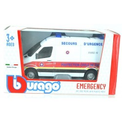 BBurago 1/55 MERCEDES SPRINTER PROTECTION CIVIL DE PARIS EMERGENCY