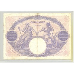 FRANCE 50 FRANCS SERIE Q.9076 BLEU ET ROSE 15 05 1922 TB+