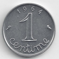 FRANCE 1 CENTIME INOX 1964 ECRITURE GRASSE A/R SUP-
