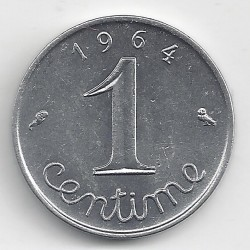 FRANCE 1 CENTIME INOX 1964 REBORD SUP