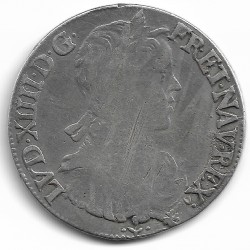 LOUIS XIV ( 1643-1715 ) 1/2 ECU MECHE LONGUE 1659 L (BAYONNE) TB-