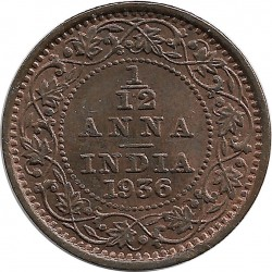 INDE ANGLAISE 1/12 ANNA (1 PIE) GEORGES V 1936 SUP