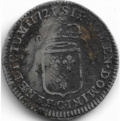 LOUIS XV ( 1715-1774 ) 1/6 ème ECU DE FRANCE 1721 C (CAEN) TB+