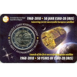 BELGIQUE 2018 2 EURO COMMEMORATIVE 50 ANS D ESRO COINCARD VERSION FLAMAND