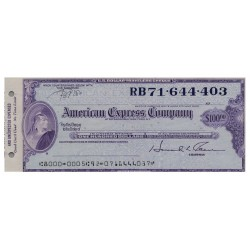 U.S.A AMERICAN EXPRESS TRAVELERS CHEQUE 100 DOLLARS RB71.644.403