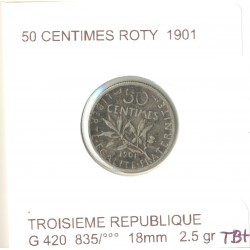 FRANCE 50 CENTIMES ROTY 1901 TB+