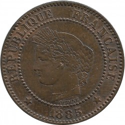 FRANCE 2 CENTIMES CERES 1885 GRAND A SUP