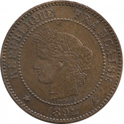 FRANCE 2 CENTIMES CERES 1892 A SUP