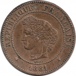 FRANCE 5 CENTIMES CERES 1881 SUP-