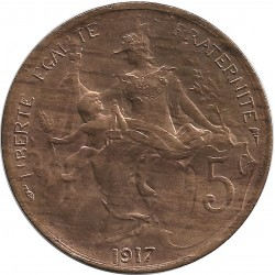 FRANCE 5 CENTIMES DUPUIS 1917 SUP