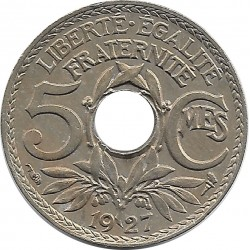 FRANCE 5 CENTIMES LINDAUER 1927 SUP