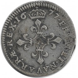 LOUIS XIV (1643-1715) 4 SOLS DITS DES TRAITANTS 1677 A (PARIS) 1gr62 TB+