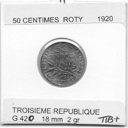 FRANCE 50 CENTIMES ROTY 1920 SUP-