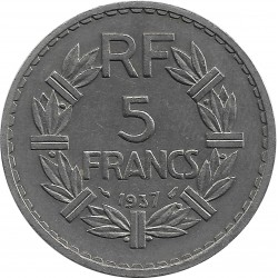 FRANCE 5 FRANCS LAVRILLIER 1937 SUP-