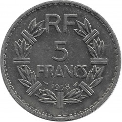 FRANCE 5 FRANCS LAVRILLIER 1938 SUP-