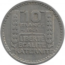 FRANCE 10 FRANCS TURIN GROSSE TETE RAMEAUX LONG 1945 TTB