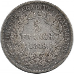 FRANCE 5 FRANCS CERES 1849 A main chien TTB