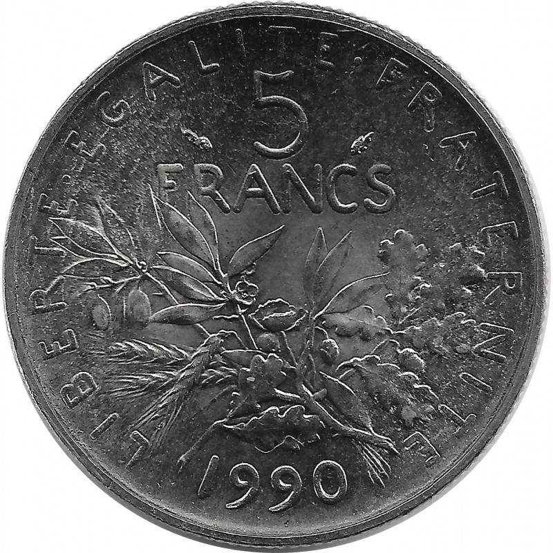 FRANCE 5 FRANCS ROTY 1990 SUP/NC
