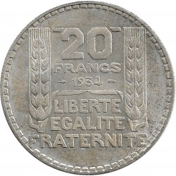 FRANCE 20 FRANCS TURIN 1934 SUP