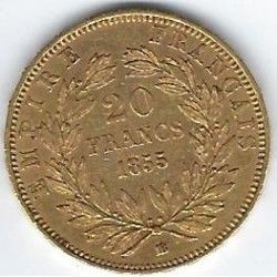 FRANCE 20 FRANCS OR NAPOLEON III 1855 BB ( Strasbourg ) en etat TTB OR GOLD ORO