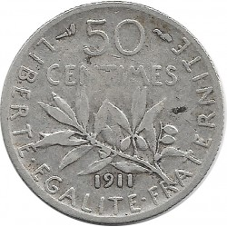 FRANCE 50 CENTIMES ROTY 1911 TB