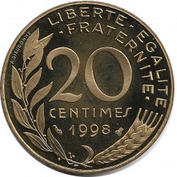 FRANCE 20 CENTIMES LAGRIFFOUL 1998 BE