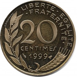 FRANCE 20 CENTIMES LAGRIFFOUL 1999 BE