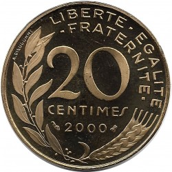 FRANCE 20 CENTIMES LAGRIFFOUL 2000 BE