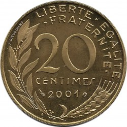 FRANCE 20 CENTIMES LAGRIFFOUL 2001 BE
