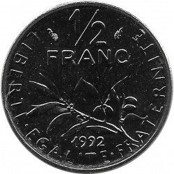 FRANCE 1/2 FRANC ROTY 1992 FRAPPE MEDAILLE BU