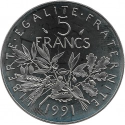 FRANCE 5 FRANCS ROTY 1991 BE