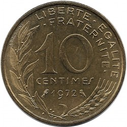 FRANCE 10 CENTIMES LAGRIFFOUL 1972 SUP/NC