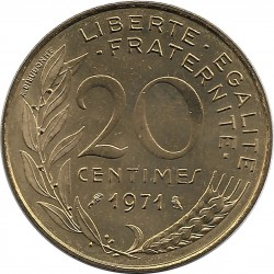 FRANCE 20 CENTIMES LAGRIFFOUL 1971 SUP/NC