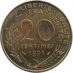 FRANCE 20 CENTIMES LAGRIFFOUL 1991 FRAPPE MEDAILLE SUP/NC